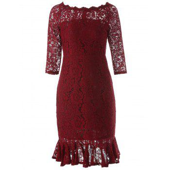 Boat Neck Mini Lace Fishtail Dress