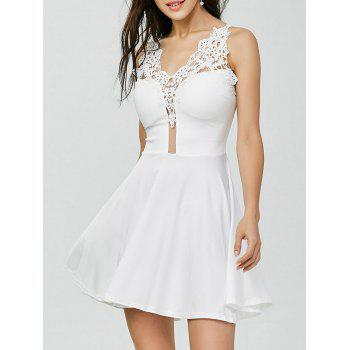 Lace Insert Crochet Mini Flared Dress