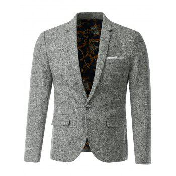 One Button Lapel Flap Pocket Heather Blazer