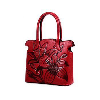 Scalloped Flower Eombossing Handbag - WINE RED