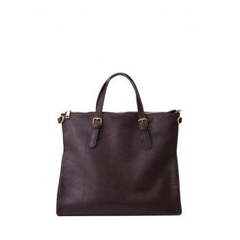 Buckle Straps PU Leather Tote Bag