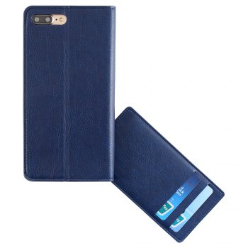 Flip Faux Leather Wallet with Card Slot Case For iPhone - DEEP BLUE FOR IPHONE 7