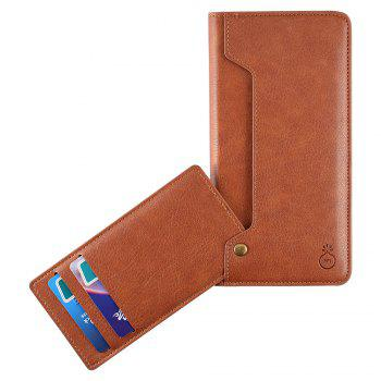 Flip Faux Leather Wallet with Card Slot Case For iPhone - BROWN FOR IPHONE 6 PLUS / 6S PLUS