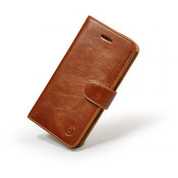 Faux Leather Card Slot Flip Wallet Case For iPhone - BROWN FOR IPHONE 6 PLUS / 6S PLUS