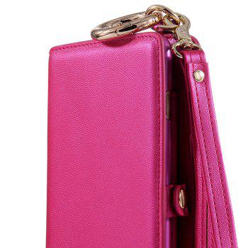 Multifounction Card Slot Faux Leather Flip Wallet Case For iPhone - ROSE MADDER FOR IPHONE 7 PLUS