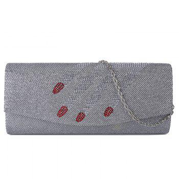 Rhinestone Fingers Pattern Flapped Clutch Bag - SILVER SILVER
