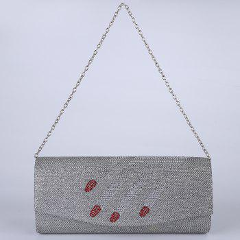 Rhinestone Fingers Pattern Flapped Clutch Bag - SILVER