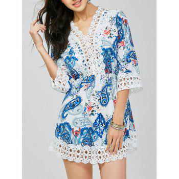 Lace Trim Paisley Mini Tunic Dress