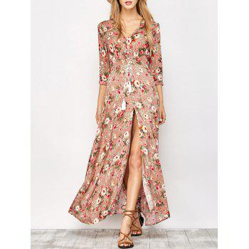 Floral Thigh High Split Maxi Dress