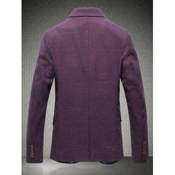 Metal Adorn Lapel One Button Heather Blazer - PURPLE 3XL