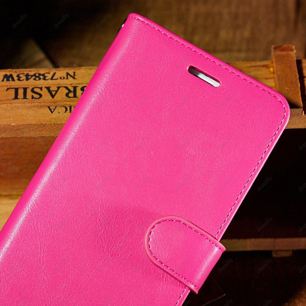 Faux Leather Card Slot Flip Wallet Case For iPhone - ROSE MADDER FOR IPHONE 7 PLUS