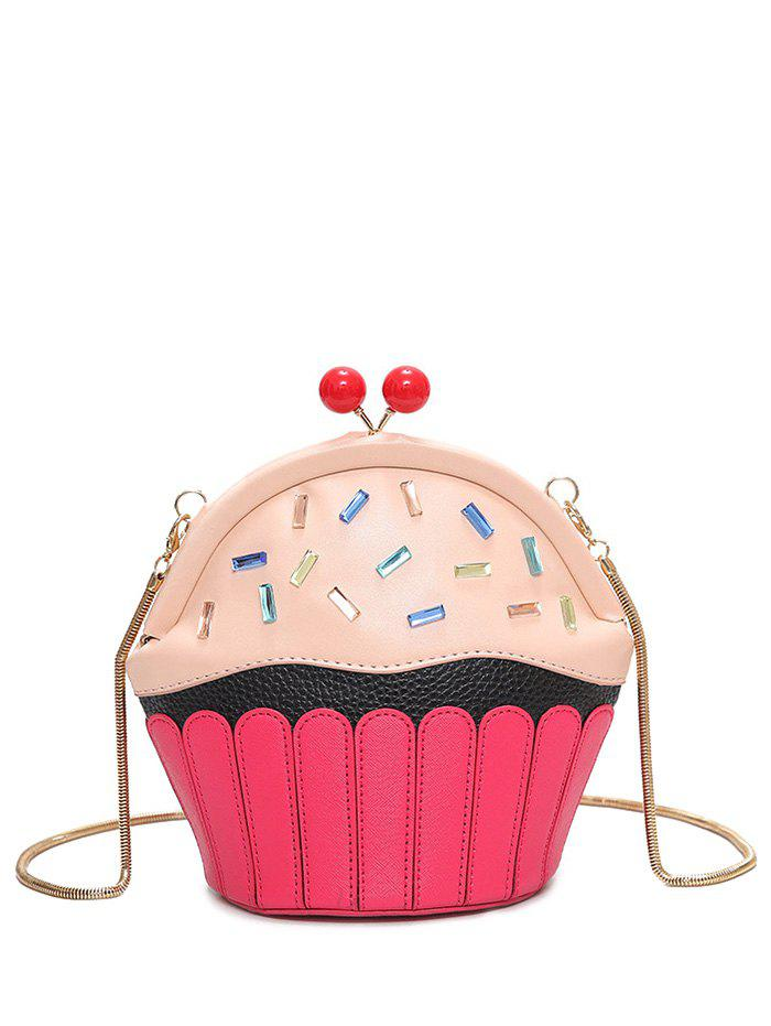 Rhinestone Cupcake Shaped Crossbody Bag - PINK