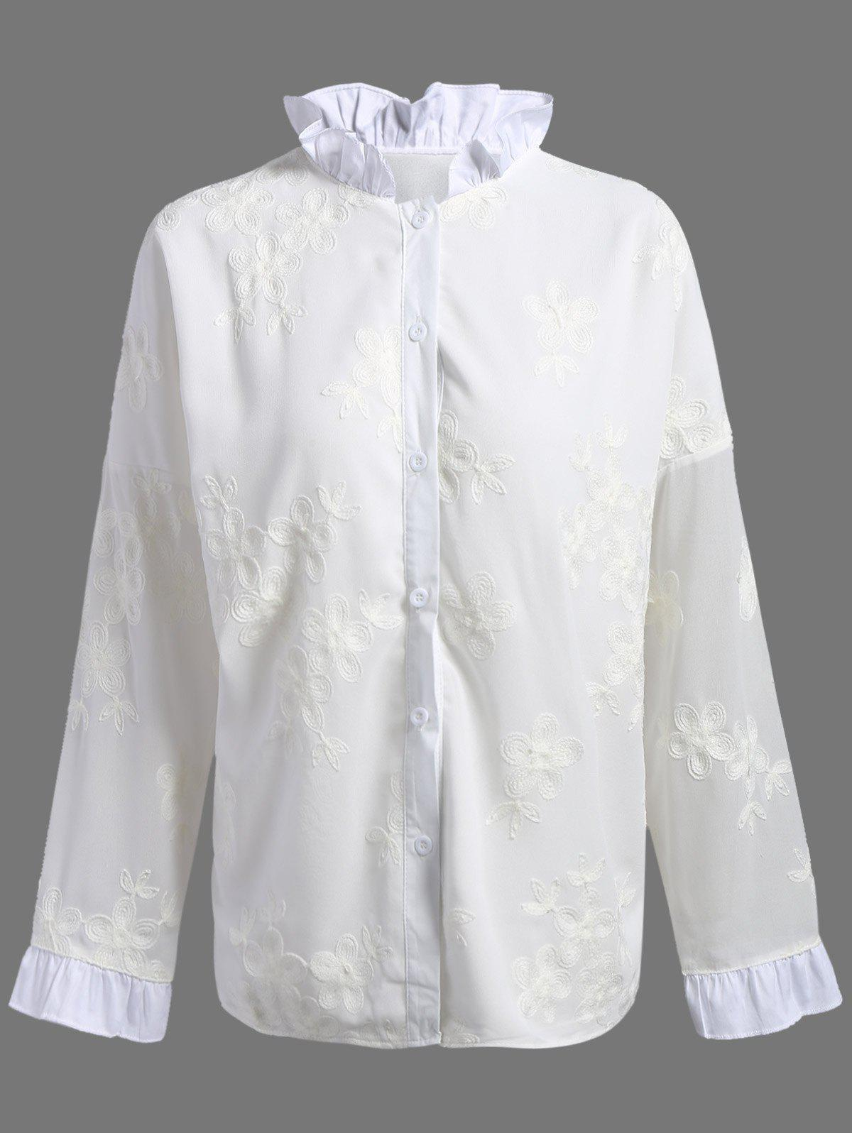Floral Embroidered Ruffled Plus Size BlouseWomen<br><br><br>Size: 4XL<br>Color: WHITE