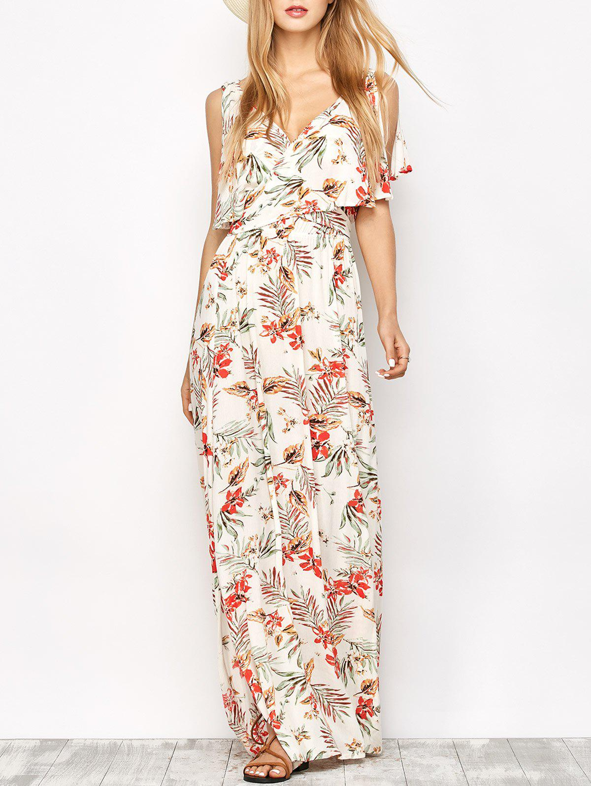 Overlayed Floral Print Maxi Dress - FLORAL L