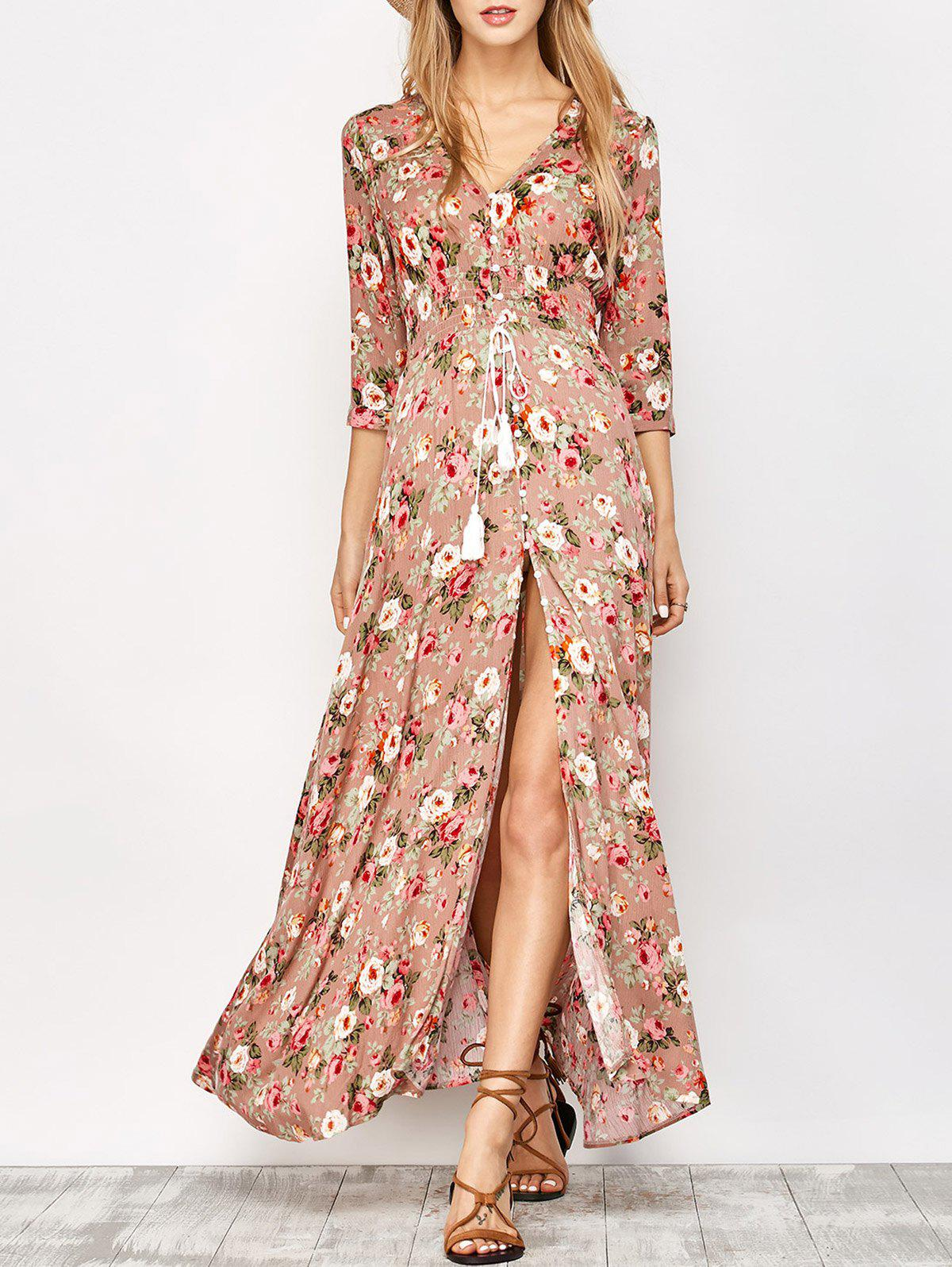 Floral Thigh High Split Maxi Dress - FLORAL M