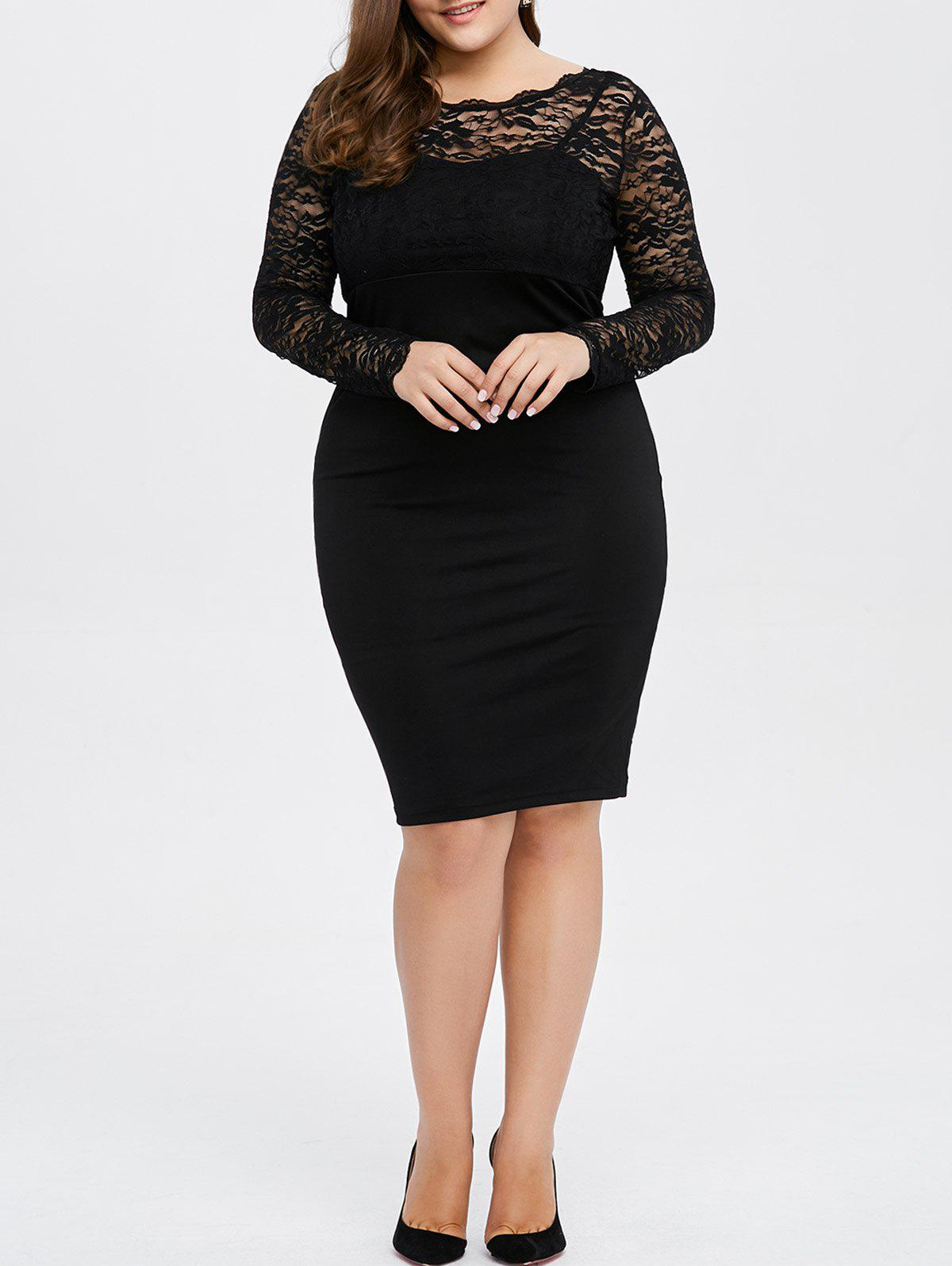 Plus Size Lace Trim Openback Sheath Dress - BLACK 3XL