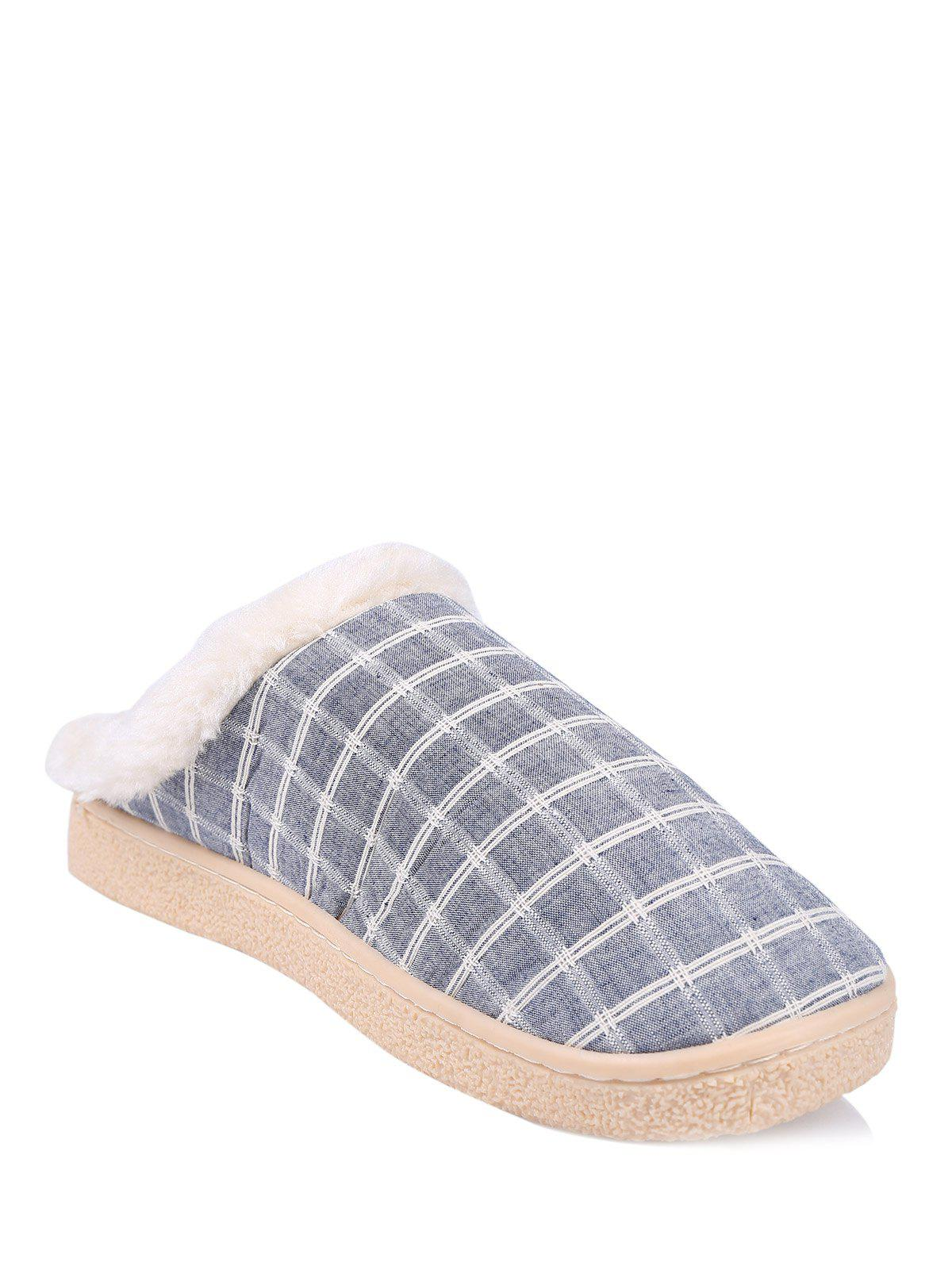 Plaid Flocking Winter Slippers - BLUE SIZE(42-43)