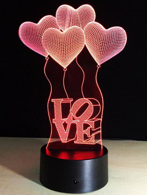 Valentine 3D Cadeau visuel Coeur LED couleur Balloon Change Night Light - coloré