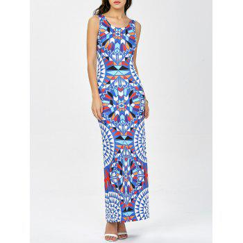 Sleeveless Geometric Print Maxi Aztec Print Dress