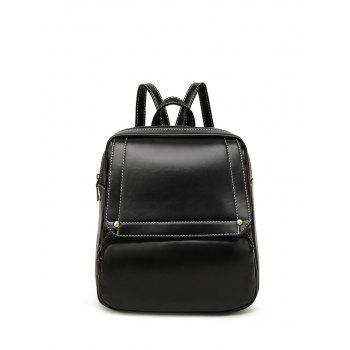 Preppy Stitching Faux Leather Backpack - BLACK BLACK