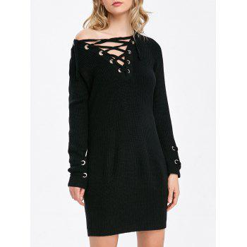 Mini Long Sleeve Lace Up Jumper Dress