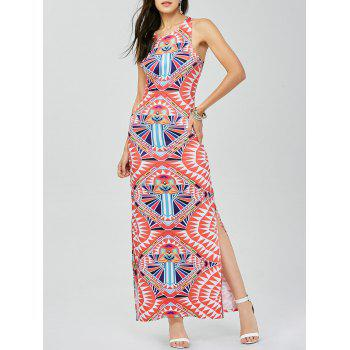 Aztec Print Maxi Back Cut Out Slit Dress