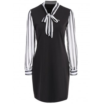 Pussy Bow Striped Mini Dress
