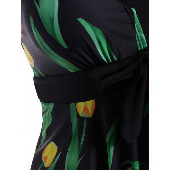 Plus Size Wire Free Tulip Print Cutout Skirted Swimwear - BLACK 5XL