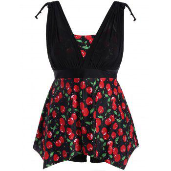 Plus Size Cherry Print Wire Free Tankini Set