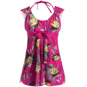 Plus Size Wire Free Printed Layered Swimwear