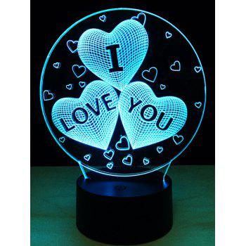 7 Color Change 3D Illusion Love Heart Night Light For Valentine Day - COLORFUL