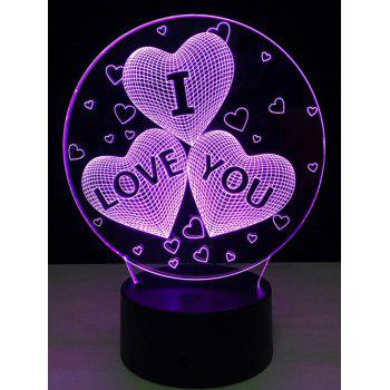 7 Color Change 3D Illusion Love Heart Night Light For Valentine Day