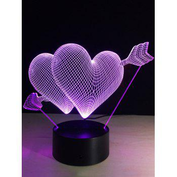 7 Color Change 3D Arrow Through Heart Night Light For Valentine Day - COLORFUL