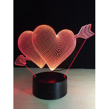 7 Color Change 3D Arrow Through Heart Night Light For Valentine Day