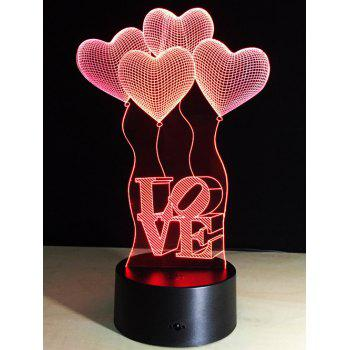 Valentine Gift 3D Visual LED Heart Balloon Color Change Night Light