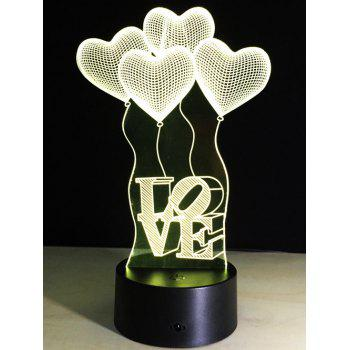 Valentine Gift 3D Visual LED Heart Balloon Color Change Night Light - COLORFUL