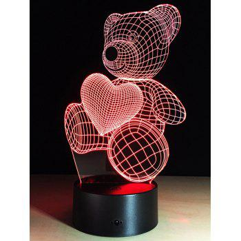 Color Change Atmosphere 3D LED Bear Night Light For Valentine Day