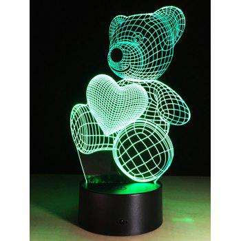 Color Change Atmosphere 3D LED Bear Night Light For Valentine Day - COLORFUL