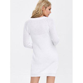 Long Sleeve Lace-Up Ribbed Tunic Dress - L L