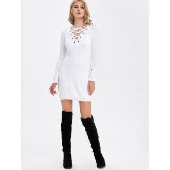 Long Sleeve Lace-Up Ribbed Tunic Dress - S S