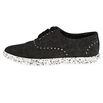 Rivet Linen Lace-Up Casual Shoes - BLACK GREY 43