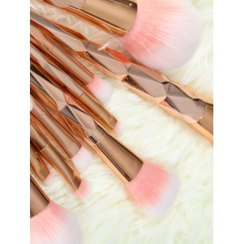 10 Pcs Rhombus Handle Makeup Brushes Set - ROSE GOLD