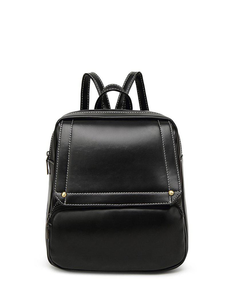 Preppy Stitching Faux Leather Backpack - BLACK