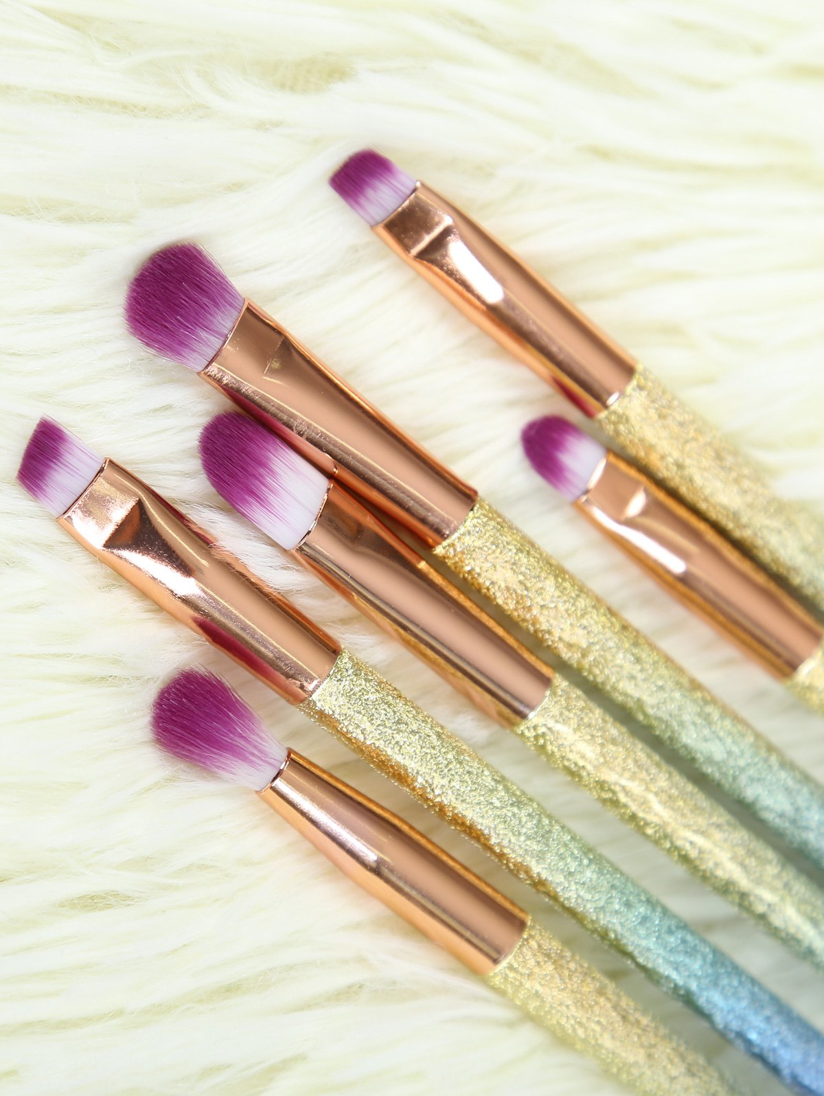 Ombre Glitter Eye Makeup Brushes Set, ROSE GOLD In Make Up