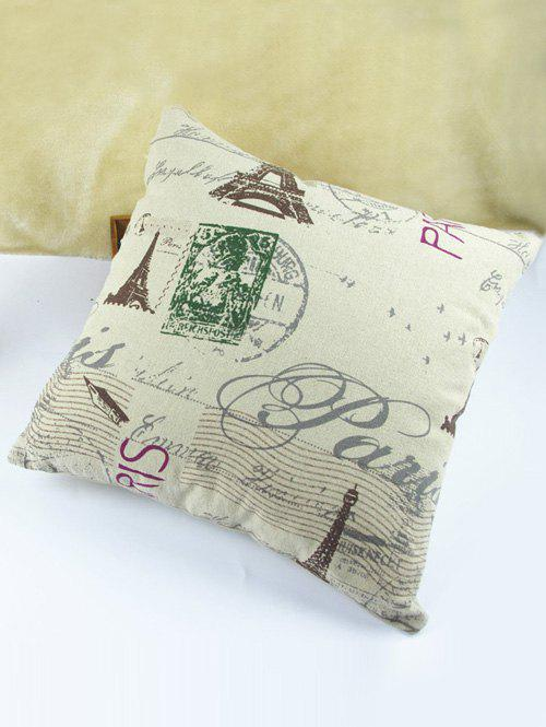 High Quality Square Shape Tower Pattern Signature Cotton Pillow Case(Without Pillow Inner) - COLORMIX