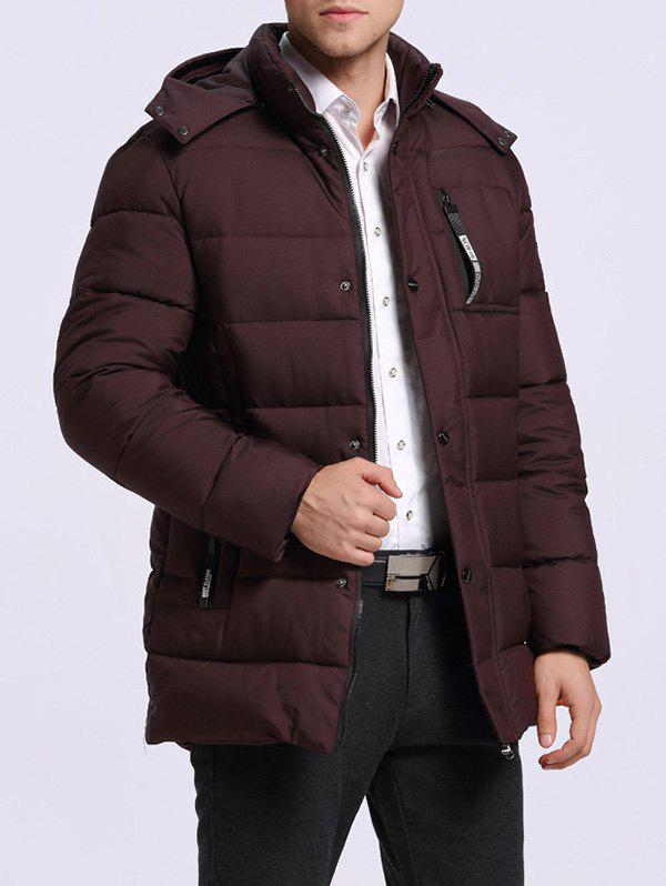 Longline Detachable Hooded Badge Quilted Coat