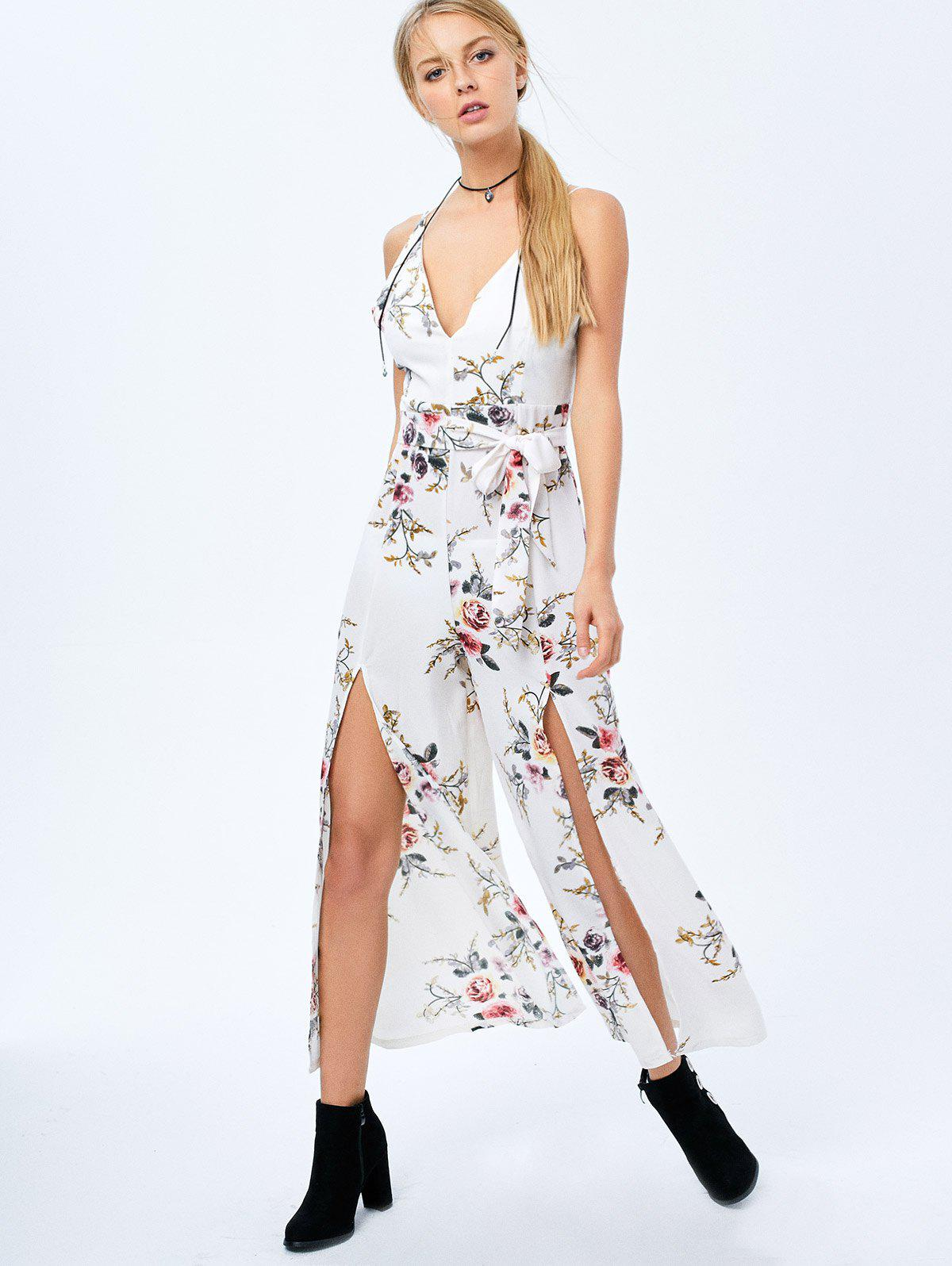2018 Criss Cross High Slit Maxi Floral Flowy Jumpsuit WHITE S In Jumpsuits u0026 Rompers Online ...