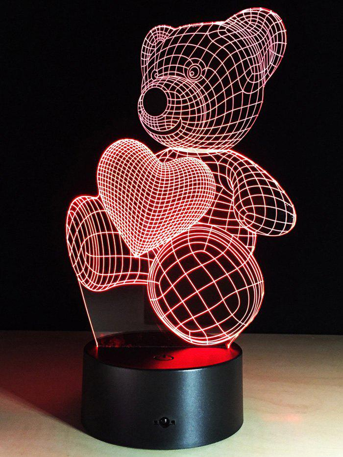 Color Change Atmosphere 3D LED Bear Night Light For Valentine Day valentine day gift 3d arrow through heart colorful touch night light