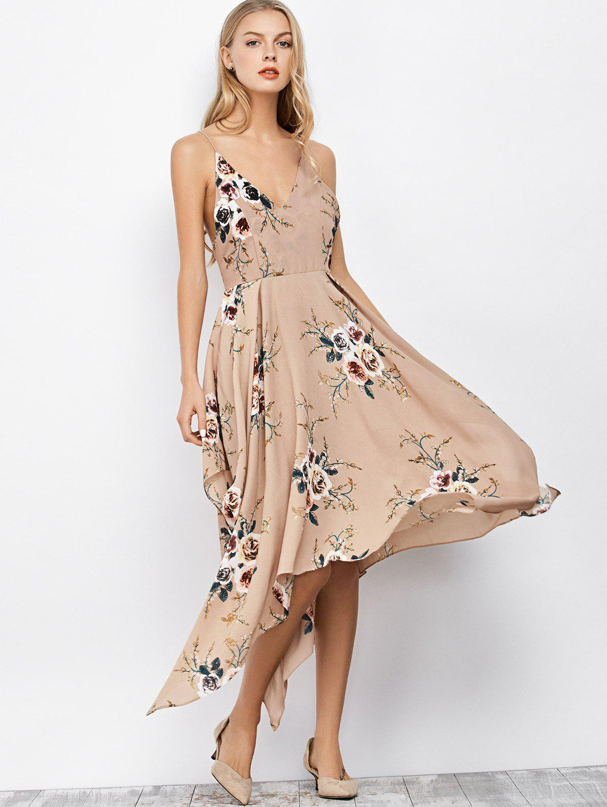 Floral Maxi Handkerchief Casual Slip Dress - APRICOT M