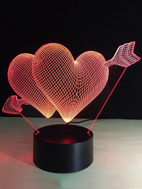 7 Color Change 3D Arrow Through Heart Night Light For Valentine Day 8x10ft valentine s day photography pink love heart shape adult portrait backdrop d 7324